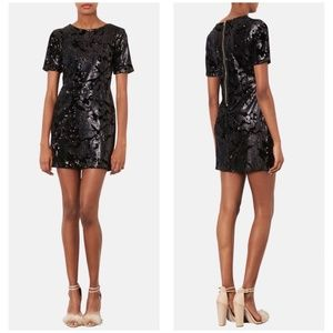 Topshop Black Sequin Velvet Mini Dress Size 10